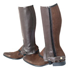 Borraq Brown Leather Half Chaps with Brown Elasticated Mesh Gusset