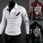 Men's Eagle Tattoo Graphic Printing Long Sleeve Polo T-Shirt Fit Slim New