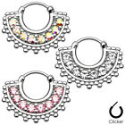 1 pc16G Large Paved Gem Fan 316L Surgical Steel Septum Clicker Ring