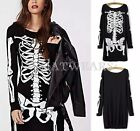 Fashion Punk Style Womens Skeleton Painted Long Sleeved Patched Dress Black FKS