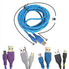 3M/10FT Hemp Rope Micro USB Charger Charging Data Cable Cord Cell Phone Blue New