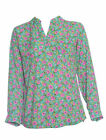 LADIES GREEN & PINK FLORAL PRINT LONG SLEEVE TOP STYLE-4337