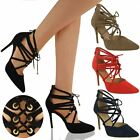 LADIES WOMENS LACE UP HIGH HEEL COURT SHOES SEXY STILETTO BOOTS SIZE
