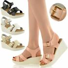 NEW WOMENS LADIES LOW WEDGE SANDALS STRAPPY SUMMER WIDE OPEN TOE SIZE