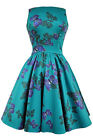 Lady V London Vintage Teal Tea Dress Butterflies Rockabilly Pinup 50's