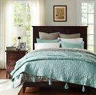 Queen Red Blue White Grey Green Quilted Cotton Bedspread Quilt Coverlet Set