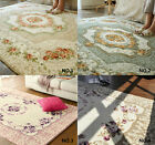 French Country Floral Beige Green Purple Coffee Patterned Blue Area Carpet Rug