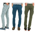 Mens Vintage Cargo Pocket Faded Painted Slim fit Skinny Jeans Pants Trousers
