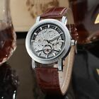 U.S.A Mens Skeleton Dial Automatic Mechanical Sport Leather Wrist Watch