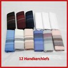 12x Mens Handkerchief (NEW) Cotton Hanky Pocket Square Tissue Hankies Unisex