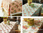 Shabby French Country Chic Floral Rose Blue Pink Off white Table Cloth