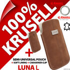 New Krusell Luna L Large GENUINE SUEDE LEATHER Mobile Pouch Case Cover Slim+Clip