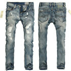 2015 DESIGNER Mens Slim Fit Scratched Straight Jeans Trousers Pants Skinny Jeans