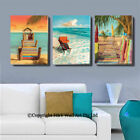 Set Of 3 Beach Scenery II Stretched Canvas Prints Framed Wall Art Decor Painting