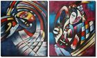 Cubism Oil Painting x 2 Panel - 'The Jesters Tears' - Cubist Home Decor Art