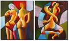 Oil Painting x 2 Panel - Cubism Home Decor - Modern Art for Home or Office