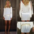 Sexy Women Summer Casual Long Sleeve Lace Party Evening Short Mini Dress White