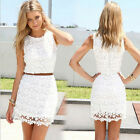 White Sexy Women Summer Bandage BodyCon Evening Party Cocktail Lace MINI Dress