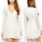 Womens Long Sleeve Boho Sexy Lace Short Skater Skirt Evening Party Topshop Dress