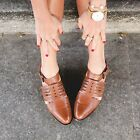 ZARA NEW 2015. TAN LEATHER OPEN WORK ANKLE STRAP FLATS CAGE SANDALS SHOES.