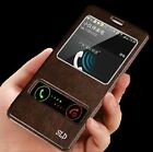 Luxury Front Window View Flip PU Leather Case Cover Stand For Samsung Galaxy
