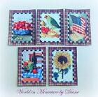 Dolls House Tea Towels Sunflower, Cherries, Parrot, Table Print 1:12 scale 1""