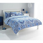 Moroccan Inspired Paisley Scroll Duvet Cover in Blue White - Reversible Bed Set