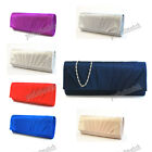 IVORY BLUE RED BLACK PURPLE SILVER RED Pleated Satin Clutch Evening Bag #80087