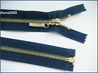 NAVY BLUE ZIP/ METAL GOLD TEETH OPEN ENDED.Different Sizes.(85-45 cm)