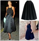 NEW TOWIE BLACK BRUSHED SATIN MIDI SKIRT S,M,L,XL