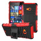Microsoft Lumia 535 Dual Layer Shockproof Cover Hybrid Rugged Case w/ Kickstand
