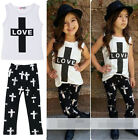 NEW 1-6Y Baby Kids Girl A-line Outfits Love Tops + Pants Leggings Set Clothes