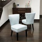 Set of 2 Elegant Blue Fabric Armless Accent / Dining Chairs w/ Nailhead Accents