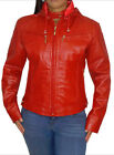 Women Leather Red Jacket Removable Hood Sz XS-3XL Colombian Couture