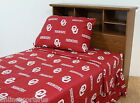 Oklahoma Sooners Sheet Set Team Color Twin Full Queen King