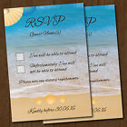 Personalised Beach Wedding RSVP Reply Cards & Envelopes *Seaside