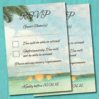 Personalised Beach Wedding RSVP Reply Cards & Envelopes *Tropical