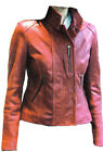 Women Red Leather Golf Jacket Removable Sleeves Sz XS-3XL 12 Colors