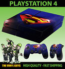 PS4 PLAYSTATION 4 CONSOLE STICKER SUPERMAN LENS FLAIR SKIN +2 X CONTROL PAD SKIN
