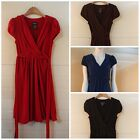 Womens V-neck Cap sleeve Cute dresses,brown,blue,red & black,Size XS,S,M