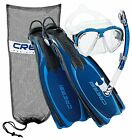 Cressi Reaction Fins with Bungee Straps Mask Snorkel Set Scuba Gear Package