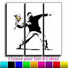 Flower Thrower Banksy Treble Canvas Wall Art Picture Print 2