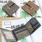 Men's Army  Green Combat Zipper Decoration Wallet Tri-fold Card Boy's New