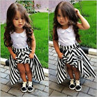 2015 Children Baby Girls Princess Party Dress Lace Flower Stripe Gown Dress 2-7Y