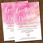 Pink Butterfly Evening Wedding Invitations & Envelopes *Watercolour Butterflies