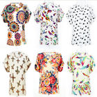 Newly Women Casual Short Sleeve Heart Printed Chiffon T-shirt Tops Blouse S-xxl