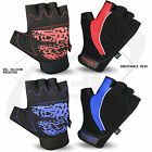 Men Cycling Gloves Bike Half Finger Fingerless Bicycle Gel Silicon Print Sports