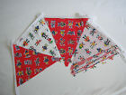 Hand Made 10ft 10 flag kids childs fabric bunting robots baby boy girl party