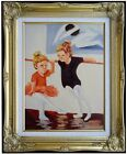 Framed Kids Dancing Class, Heavy Impasto Hand Painted Oil Painting, 12x16in