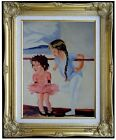 Framed Kids Dancing Class ii, Heavy Impasto Hand Painted Oil Painting, 12x16in